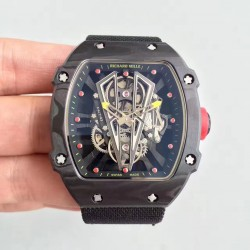 Replica Richard Mille RM27-03 Rafael Nadal KL Forged Carbon Black Skeleton Dial M9015