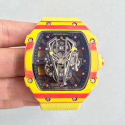 Replica Richard Mille RM27-03 Rafael Nadal KL Yellow & Red Forged Carbon Black Skeleton Dial M9015