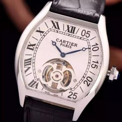 Replica Cartier Tortue Tourbillon Stainless Steel White Dial Swiss Real Tourbillon
