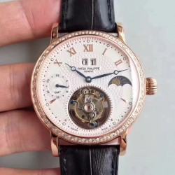Replica Patek Philippe Grand Complication Tourbillon N Rose Gold & Diamonds White Dial Swiss Tourbillon