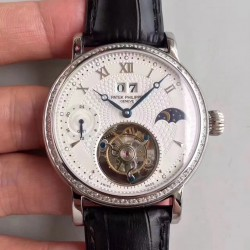 Replica Patek Philippe Grand Complication Tourbillon N Stainless Steel & Diamonds White Dial Swiss Tourbillon