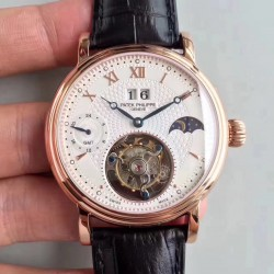 Replica Patek Philippe Grand Complication Tourbillon N Rose Gold White Dial Swiss Tourbillon