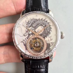 Replica Vacheron Constantin Patrimony Tourbillon N Stainless Steel & Diamonds Dragon Dial Swiss Tourbillon