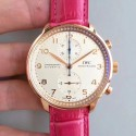 Replica IWC Portugieser Chronograph IW3714 ZF Rose Gold White Dial Swiss 7750