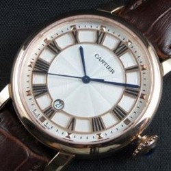 Replica Cartier Rotonde 42MM Rose Gold White Dial Swiss 2824-2
