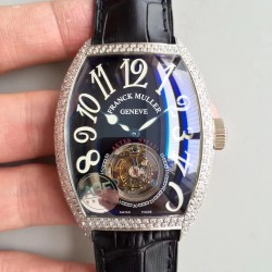 Replica Franck Muller Cintree Curvex Imperial Tourbillon 8880 T ABF Stainless Steel & Diamonds Black Dial Swiss Tourbillon