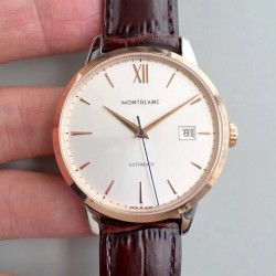 Replica Montblanc Heritage Spirit Date Automatic 111624 ER Stainless Steel & Rose Gold Silver Dial Swiss MB 24.17