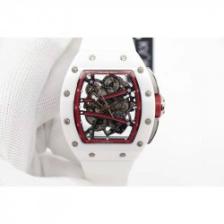 Replica Richard Mille RM59-01M White Ceramic Red Skeleton Dial M8215