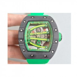 Replica Richard Mille RM59-01A Forged Carbon Green Skeleton Dial M6T51
