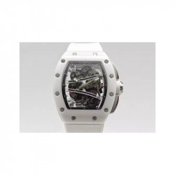 Replica Richard Mille RM59-01M White Ceramic Black Skeleton Dial M8215