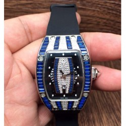 Replica Richard Mille RM007 Lady Stainless Steel Blue Diamonds Dial M6T51