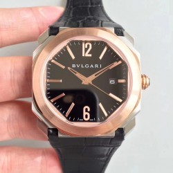 Replica Bvlgari Octo Solotempo 101964 JL Stainless Steel & Rose Gold Black Dial Swiss BVL193