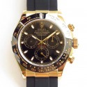Replica Rolex Daytona Cosmograph 116518LN AR Yellow Gold Black Dial Swiss 4130 Run 6@SEC