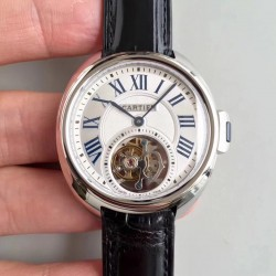 Replica Ballon Bleu De Cartier Flying Tourbillon HPI00716 39MM TF Stainless Steel White Dial Swiss 9452MC