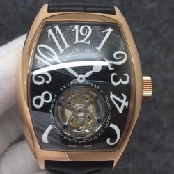 Replica Franck Muller Cintree Curvex Imperial Tourbillon 8880 T FM Rose Gold Black Dial Swiss Tourbillon