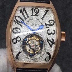 Replica Franck Muller Cintree Curvex Imperial Tourbillon 8880 T FM Rose Gold Silver Dial Swiss Tourbillon