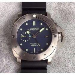 Replica Panerai Luminor Submersible GMT Regatta PAM371 ZF Titanium Black Dial Swiss P9001