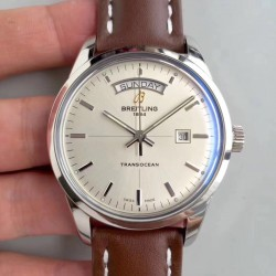 Replica Breitling Transocean Day & Date A4531012/G751/437X/A20BA.1 V7 Stainless Steel Silver Dial Swiis 2836-2