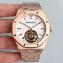 Replica Audemars Piguet Royal Oak Tourbillon Extra Thin 26522 R8 Rose Gold White Dial Swiss 2924