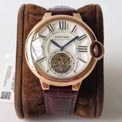 Replica Ballon Bleu De Cartier Flying Tourbillon W6920001 N Rose Gold Silver Dial Swiss 9452MC