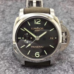 Replica Panerai  Luminor 1950 3 Days GMT PAM535 Q Edition Paris hobnails ZF Stainless Steel Black Dial Swiss P9001