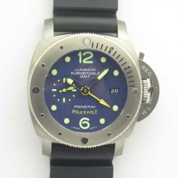Replica Panerai Luminor Submersible 1950 3 Days GMT Special Edition Pole2Pole PAM719 VS V2 Titanium Blue Dial Swiss P9001