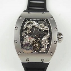 Replica Richard Mille RM057 Tourbillon Dragon  Jackie Chan TW Stainless Steel Black & Silver Skeleton Dial  Swiss Tourbillon