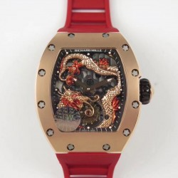 Replica Richard Mille RM057 Tourbillon Dragon  Jackie Chan TW Rose Gold Black & Rose Gold Skeleton Dial  Swiss Tourbillon