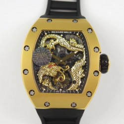 Replica Richard Mille RM057 Tourbillon Dragon  Jackie Chan TW Yellow Gold Black & Yellow Gold Skeleton Dial  Swiss Tourbillon