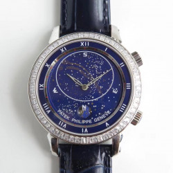 Replica Patek Philippe Grand Complications Sky Moon Celestial 5102G N Stainless Steel & Diamond Blue Dial Swiss 240 LU CL C