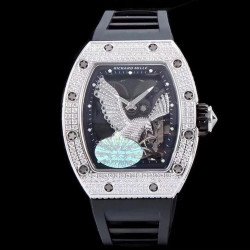 Replica Richard Mille RM023 KV Stainless Steel & Diamonds Diamond Eagle Skeleton Dial M8215