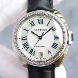 Replica Cle De Cartier 40MM Stainless Steel & Diamonds White Dial M9015