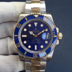 Replica Rolex Submariner Date 116613LB N V8S 24K Yellow Gold Wrapped & Stainless Steel Blue Dial Swiss 3135