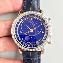 Replica Patek Philippe Grand Complications Sky Moon Celestial 6102P-001 Noob Stainless Steel Blue Dial Swiss 240 LU CL C