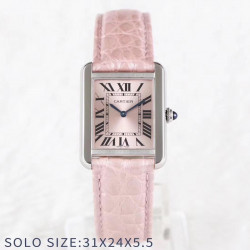 Replica Cartier Tank Solo Ladies 31MM AF Stainless Steel Rose Gold Dial Swiss Ronda Quartz