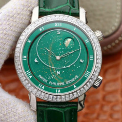 Replica Patek Philippe Grand Complications Sky Moon Celestial 5102G Noob Stainless Steel & Diamond Green Dial Swiss 240 LU CL C