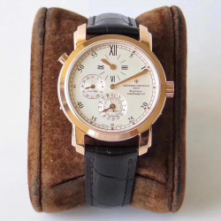 Replica Vacheron Constantin Malte Regulateur Dual Time 42005/000J K11 Rose Gold White Dial Swiss 1206