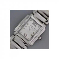 Replica Patek Philippe Ladies Twenty-4 4910/10A-011 Noob Stainless Steel White Dial Swiss Ronda Quartz
