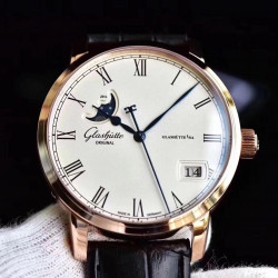 Replica Glashutte Senator Panorama Date Moon Phase 100-04-32-15-04 GF Rose Gold White Dial Swiss 100-04