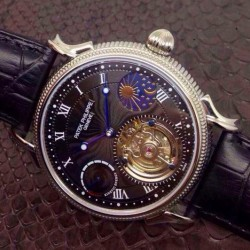 Replica Patek Philippe Tourbillon Moonphase Power Reserve Stainless Steel Black Dial Swiss Tourbillon