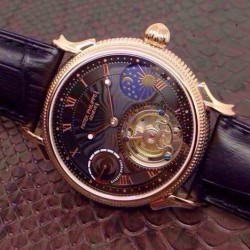 Replica Patek Philippe Tourbillon Moonphase Power Reserve Rose Gold Black Dial Swiss Tourbillon