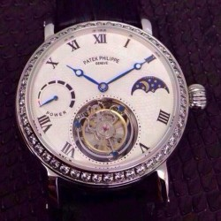 Replica Patek Philippe Tourbillon Moonphase Power Reserve Stainless Steel Diamonds Bezel Swiss Tourbillon