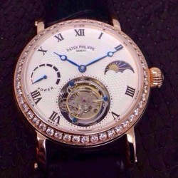 Replica Patek Philippe Tourbillon Moonphase Power Reserve Rose Gold Diamonds Bezel Swiss Tourbillon