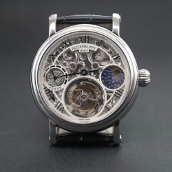 Replica Patek Philippe Tourbillon Moonphase Power Reserve Stainless Steel Skeleton Dial Swiss Tourbillon