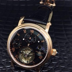 Replica Patek Philippe Tourbillon Moonphase 24H Power Reserve Rose Gold Black Dial Swiss Tourbillon