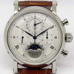 Replica Patek Philippe Moonphase Chronograph Stainless Steel White Dial Lemania