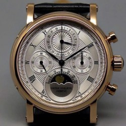 Replica Patek Philippe Moonphase Chronograph Rose Gold  White Dial Lemania