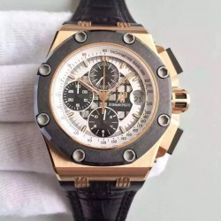Replica Audemars Piguet Royal Oak Offshore Rubens Barrichello II 26078RO.OO.D001VS.01 JF V2 Rose Gold White Dial Swiss 3126