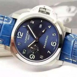 Replica Panerai Luminor GMT PAM 437 Stainless Steel Blue Dial Swiss P9100