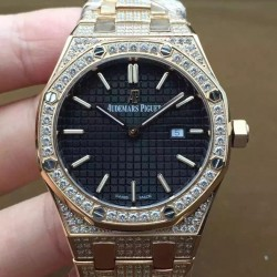 Replica Audemars Piguet Royal Oak 67651 Ladies Rose Gold & Diamonds Black Dial Swiss Quartz 2713